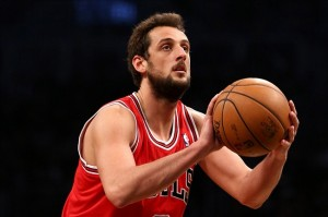 May 4, 2013; Brooklyn, NY, USA; Chicago Bulls shooting guard Marco Belinelli (8) shoots a free throw against the Brooklyn Nets in game seven of the first round of the 2013 NBA Playoffs at the Barclays Center. Mandatory Credit: Debby Wong-USA TODAY Sports