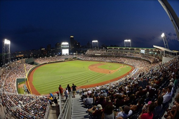 Jun 25, 2013; Omaha, NE, USA; General view of TD Ameritrade Park during the sixth inning in game 2 of the College World Series finals between the UCLA Bruins and the Mississippi State Bulldogs. Mandatory Credit: Kyle Terada-USA TODAY Sports