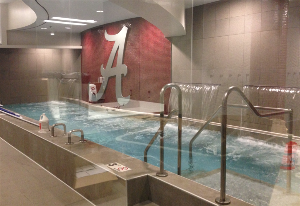 Alabama Crimson Tide Show Off Locker Room Waterfall Photo