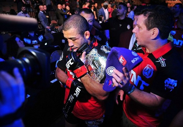 Feb 2, 2013; Las Vegas, NV, USA; Jose Aldo with his team during UFC 156 at the Mandalay Bay Events Center. Mandatory Credit: Gary A. Vasquez-USA TODAY Sports