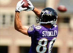 Aug 12, 2013; Owings Mills, MD, USA; Baltimore Ravens wide receiver Brandon Stokley (80) catches a pass during training camp at the Under Armour Performance Center. Mandatory Credit: Evan Habeeb-USA TODAY Sports