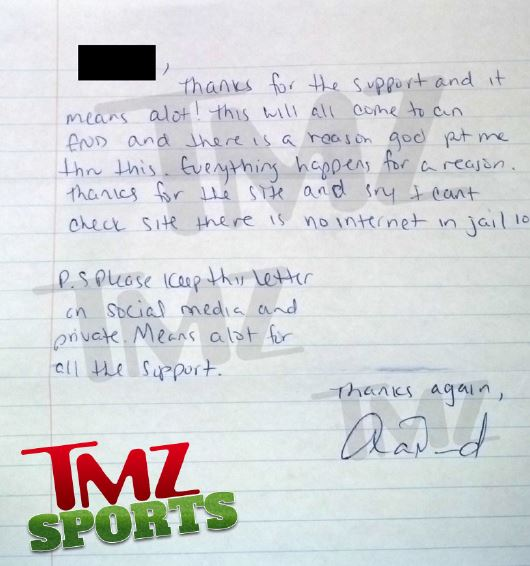 Read Aaron Hernandez's second hand-written letter from jail (Photo)