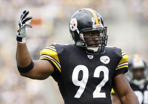 September 18, 2011; Pittsburgh,PA, USA: Pittsburgh Steelers linebacker James Harrison (92) calls for crowd noise to disrupt the Seattle Seahawks during the first quarter at Heinz Field. Mandatory Credit: Charles LeClaire-USPRESSWIRE