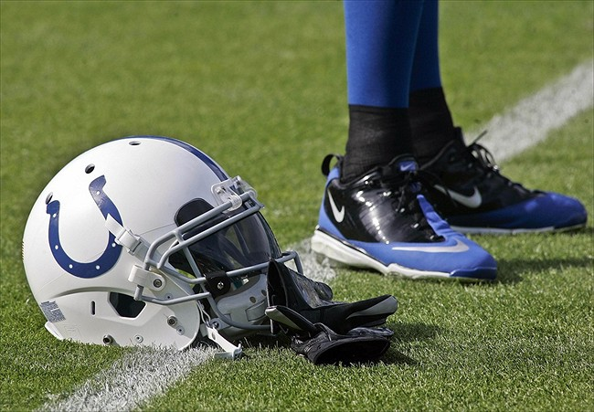 Jan 1, 2012; Jacksonville FL, USA; An Indianapolis Colts helmet before the start of their game against the Jacksonville Jaguars at EverBank Field. The Jaguars won 19-13. Mandatory Credit: Phil Sears-USA TODAY Sports