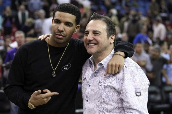 March 09, 2012; Sacramento, CA, USA; Recording artist Drake with Sacramento Kings co-owner Gavin Maloof after the game against the Dallas Mavericks at Power Balance Pavilion. The Sacramento Kings defeated the Dallas Mavericks 110-97. Mandatory Credit: Kelley L Cox-USA TODAY Sports