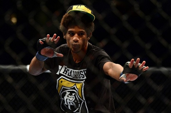 July 11, 2012; San Jose, CA, USA; Alex Caceres celebrates after defeating Damacio Page (not pictured) in the bantamweight bout of the UFC on Fuel TV at HP Pavilion. Mandatory Credit: Kyle Terada-USA TODAY Sports