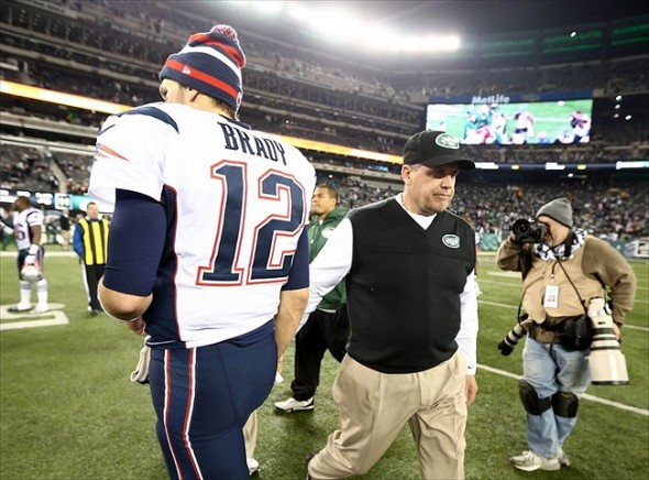 Nov. 22, 2012; East Rutherford, NJ, USA; New York Jets head coach Rex Ryan and New England Patriots quarterback Tom Brady (12) shake hands as they pass each other after the game on Thanksgiving at Metlife Stadium. Patriots won 49-19. Mandatory Credit: Debby Wong-USA TODAY Sports