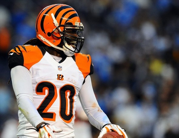 December 2, 2012; San Diego, CA, USA; Cincinnati Bengals safety Reggie Nelson (20) celebrates after an interception in the end zone during the fourth quarter against the San Diego Chargers at Qualcomm Stadium. The Bengals won 20-13. Mandatory Credit: Christopher Hanewinckel-USA TODAY Sports