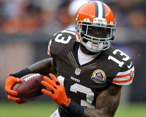 Dec 9, 2012; Cleveland, OH, USA; Cleveland Browns wide receiver Josh Gordon (13) runs for a first down after a catch in the first quarter against the Kansas City Chiefs at Cleveland Browns Stadium. Mandatory Credit: David Richard-USA TODAY Sports