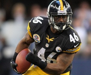 Dec 16, 2012; Arlington, TX, USA; Pittsburgh Steelers fullback Will Johnson (46) runs with the ball during the first half against the Dallas Cowboys at Cowboys Stadium. Mandatory Credit: Tim Heitman-USA TODAY Sports