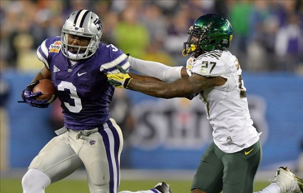 Jan 3, 2013; Glendale, AZ, USA; Kansas State Wildcats receiver Chris Harper (3) is defended by Oregon Ducks cornerback Terrance Mitchell (27) in the 2013 Fiesta Bowl at University of Phoenix Stadium. Mandatory Credit: Kirby Lee/Image of Sport-USA TODAY Sports