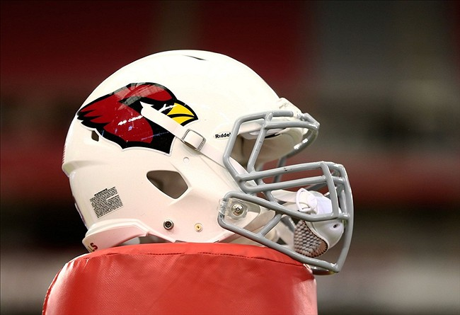 Jun. 11, 2013; Glendale, AZ, USA: Detailed view of an Arizona Cardinals helmet during mini camp at University of Phoenix Stadium. Mandatory Credit: Mark J. Rebilas-USA TODAY Sports