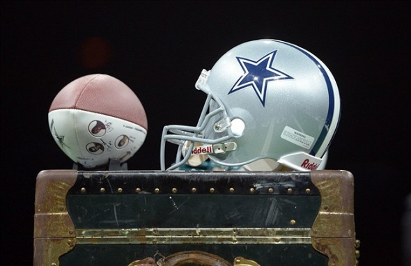 Aug 4, 2013; Canton, OH, USA; General view of a Dallas Cowboys helmet at the 2013 Enshrinees Gameday Roundtable at the Canton Memorial Civic Center. Mandatory Credit: Kirby Lee-USA TODAY Sports