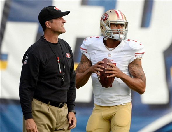 Aug 29, 2013; San Diego, CA, USA; San Francisco 49er head coach with quarterback (7) before a preseason game against the San Diego Chargers at Qualcomm Stadium. Mandatory Credit: Robert Hanashiro-USA TODAY