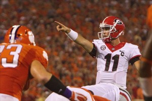 Aug 31, 2013; Clemson, SC, USA; Georgia Bulldogs quarterback Aaron Murray (11) prior to the snap during the first quarter against the Clemson Tigers at Clemson Memorial Stadium. Mandatory Credit: Joshua S. Kelly-USA TODAY Sports