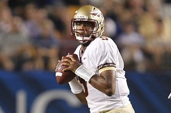Sep 2, 2013; Pittsburgh, PA, USA; Florida State Seminoles quarterback Jameis Winston (5) looks to pass the ball against the Pittsburgh Panthers during the second quarter at Heinz Field. Mandatory Credit: Charles LeClaire-USA TODAY Sports
