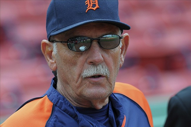 Sep 3, 2013; Boston, MA, USA; Detroit Tigers manager Jim Leyland (10) prior to a game against the Boston Red Sox at Fenway Park. Mandatory Credit: Bob DeChiara-USA TODAY Sports