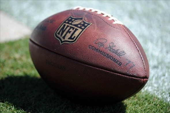 Sep 8, 2013; Jacksonville, FL, USA; A general view a football before the start of the Jacksonville Jaguars against the Kansas City Chiefs at EverBank Field. Mandatory Credit: Melina Vastola-USA TODAY Sports