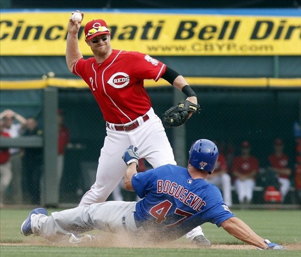 Sep 11, 2013; Cincinnati, OH, USA; Chicago Cubs right fielder Brian Bogusevic (47) is forced out at second base as Cincinnati Reds shortstop Zack Cozart (2) throws to first to complete a double play in the ninth inning at Great American Ball Park. The Reds won 6-0. Mandatory Credit: David Kohl-USA TODAY Sports