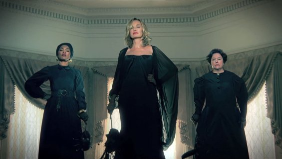 Angela Bassett, Jessica Lange, and Kathy Bates as Marie Laveau, Fiona, and Madame Delphine LaLaurie respectively, in 'American Horror Story: Coven' Photo Credit: FX