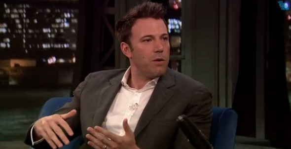 Ben Affleck talks with Jimmy Fallon about being cast as Batman in the upcoming 'Batman vs. Superman'. Photo Credit: Late Night With Jimmy Fallon