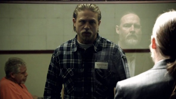 Jax tells Lee Toric just how personal this situation can become for both of them in Season 6 Episode 3 of 'Sons of Anarchy'. Photo Credit: FX
