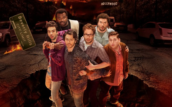 Left to Right, Jay Baruchel, Craig Robinson, James Franco, Seth Rogen, Danny McBride, and Jonah Hill star in 'This is the End'
