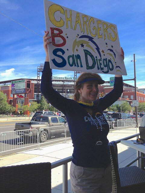 San Diego Chargers Fan Unable To Complete Cbs Sign Photo