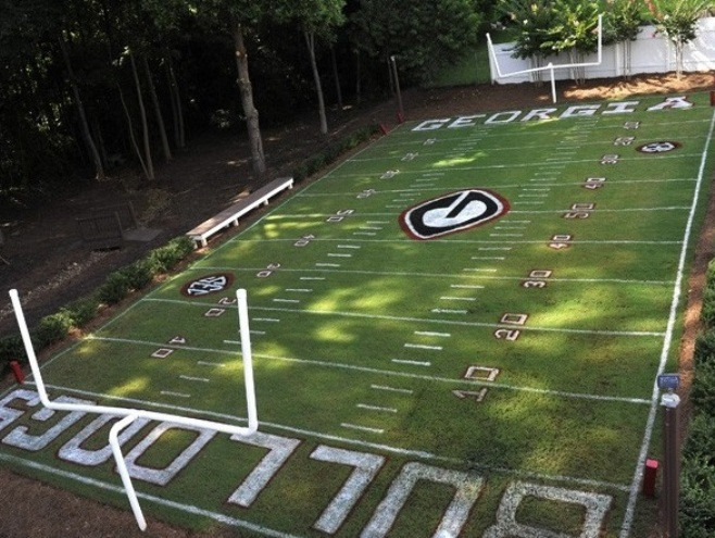 Football Field In Your Backyard :  football player builds replica Sanford Stadium in backyard (Photo