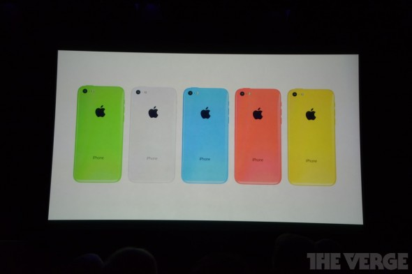 Photos of the new iPhone 5c in multiple colors, via The Verge