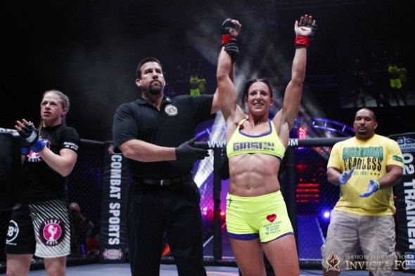 Julia Budd celebrates her victory over Molly Estes at Invicta FC 5. Photo Credit: Esther Lin - Invicta FC
