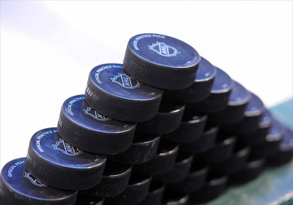 Mar 10, 2012; Dallas, TX, USA; A view of the game pucks on display before the game between the Dallas Stars and the Anaheim Ducks at the American Airlines Center. The Stars shut out the Ducks 2-0. Mandatory Credit: Jerome Miron-USA TODAY Sports