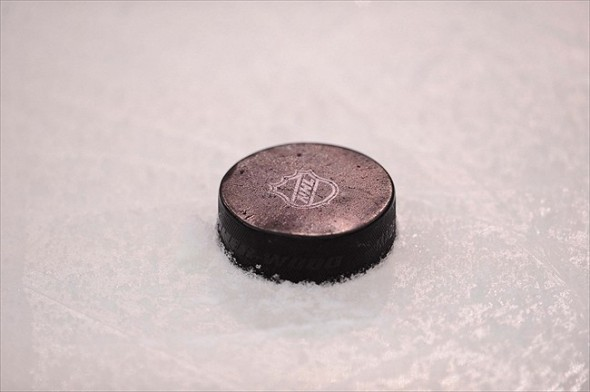 Mar 20, 2012; Dallas, TX, USA; A general view of a puck during the game between the Dallas Stars and the Phoenix Coyotes at the American Airlines Center. The Stars defeated the Coyotes 4-3 in the overtime shootout. Mandatory Credit: Jerome Miron-USA TODAY Sports