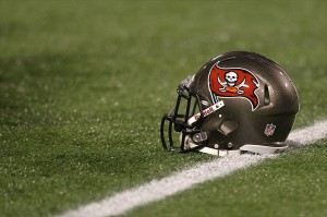 Oct 25, 2012; Minneapolis, MN, USA; A Tampa Bay Buccaneers helmet against the Minnesota Vikings at the Metrodome. The Buccaneers defeated the Vikings 36-17. Mandatory Credit: Brace Hemmelgarn-USA TODAY Sports