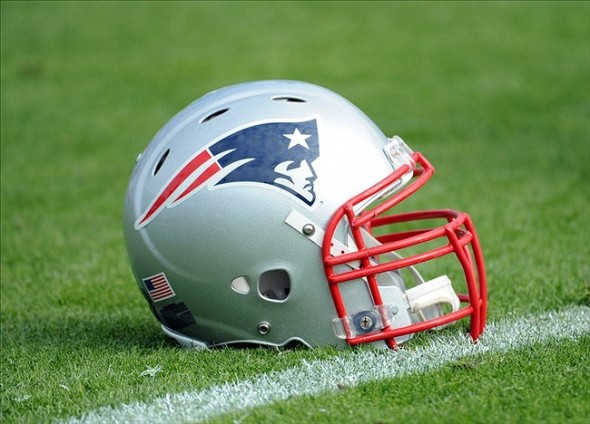 Dec 23, 2012; Jacksonville, FL, USA; New England Patriots helmet sits on the field before start of the game against the Jacksonville Jaguars at EverBank Field. Mandatory Credit: Melina Vastola-USA TODAY Sports