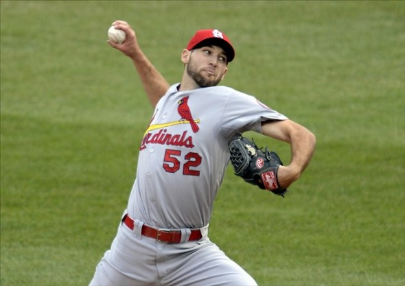 Oct 7, 2013; Pittsburgh, PA, USA; St. Louis Cardinals starting pitcher Michael Wacha throws a pitch against the Pittsburgh Pirates in game four of the National League divisional series playoff baseball game at PNC Park. Mandatory Credit: H.Darr Beiser-USA TODAY Sports