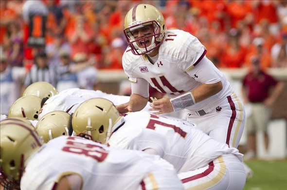 Oct 12, 2013; Clemson, SC, USA; Boston College Eagles quarterback Chase Rettig (11) prior to the snap against the Clemson Tigers during the first quarter at Clemson Memorial Stadium. Mandatory Credit: Joshua S. Kelly-USA TODAY Sports