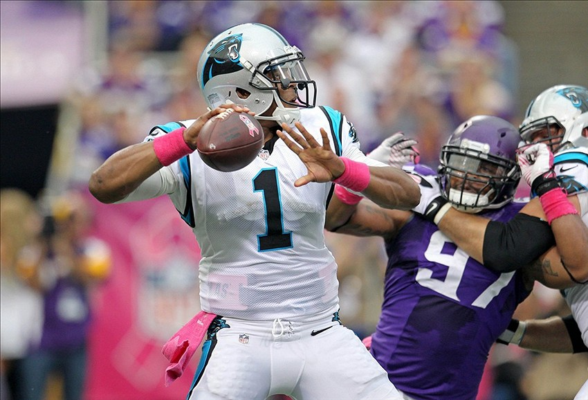 Oct 13, 2013; Minneapolis, MN, USA; Carolina Panthers quarterback Cam Newton (1) throws a pass during the second quarter against the Minnesota Vikings at Mall of America Field at H.H.H. Metrodome. Mandatory Credit: Brace Hemmelgarn-USA TODAY Sports