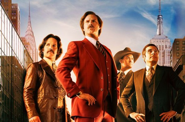 Paul Rudd, Will Ferrell, David Koechner, and Steve Carrell in the promo poster for the film 'Anchorman 2: The Legend Continues' Photo Credit: Paramount