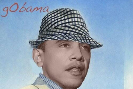 "US President Barack Obama depicted as legendary Alabama Crimson Tide coach Paul ""Bear"" Bryant"