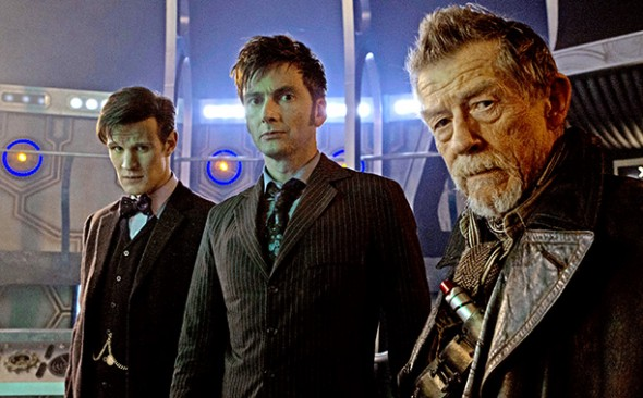 Matt Smith, David Tennant, and John Hurt in the 'Doctor Who' 50th Anniversary Special 'The Day of the Doctor' Photo Credit: ADRIAN ROGERS/BBC