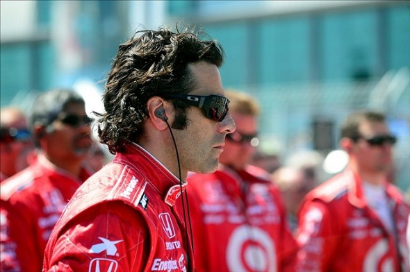 Jul 13, 2013; Toronto, ON, Canada; IndyCar Series driver Dario Franchitti prior to the start of the Honda Indy Toronto through the streets of downtown Toronto. Mandatory Credit: Andrew Weber-USA TODAY Sports