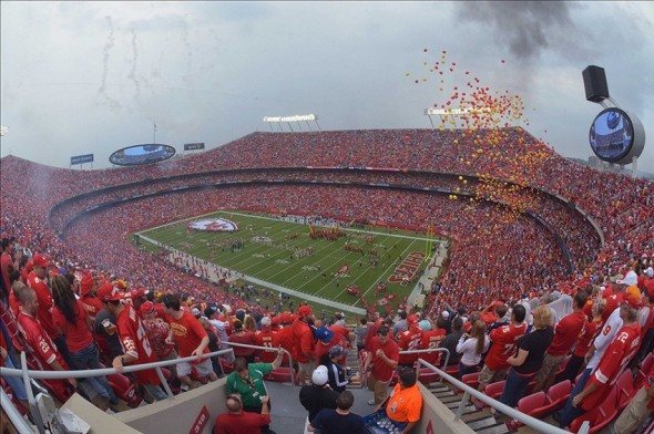 Sep 15, 2013; Kansas City, MO, USA; A general view of ceremonies prior to the game between the Kansas City Chiefs and the Dallas Cowboys at Arrowhead Stadium. Mandatory Credit: Denny Medley-USA TODAY Sports