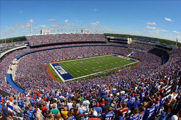 Sep 8, 2013; Orchard Park, NY, USA; A general view of Ralph Wilson Stadium during a game between the Buffalo Bills and the New England Patriots. Mandatory Credit: Timothy T. Ludwig-USA TODAY Sports