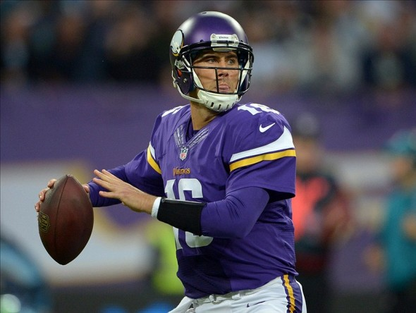 Sep 29, 2013; London, UNITED KINGDOM; Minnesota Vikings quarterback Matt Cassel (16) throws a pass against the Pittsburgh Steelers in the NFL International Series game at Wembley Stadium. Mandatory Credit: Kirby Lee-USA TODAY Sports