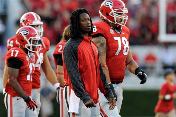Sep 28, 2013; Athens, GA, USA; Georgia Bulldogs running back Todd Gurley (center without jersey) shown on the sideline after leaving the game with an injury during the second half at Sanford Stadium. Georgia defeated LSU 44-41. Mandatory Credit: Dale Zanine-USA TODAY Sports