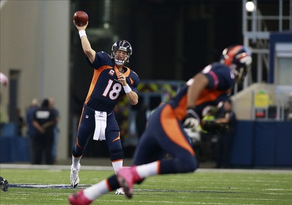 Oct 6, 2013; Arlington, TX, USA; Denver Broncos quarterback Peyton Manning (18) throws a pass in the second quarter against the Dallas Cowboys at AT