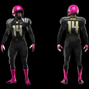 Oregon will wear pink cleats, socks, gloves and helmets Saturday against Washington State to support the fight against breast cancer. Photo via Nike