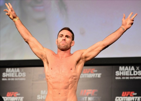 Oct 8, 2013; Barueri, Sao Paulo, Brazil; Jake Shields during the weigh-in for UFC Fight Night 29 at Jose Correa Arena. Mandatory Credit: Jason Silva-USA TODAY Sports