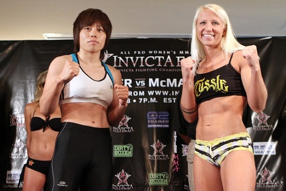 Ayaka Hamasaki and Lacey Schuckman at the Invicta FC 2 weigh ins. Photo Credit: Tracy Lee-Invicta FC